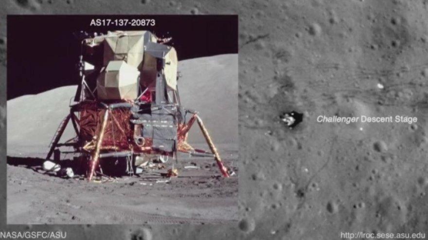 Naujose NASA nuotraukose matosi skrydžių metu palikti pėdsakai ir įrenginiai, nusileidimo vietos, keliavimo įrenginių paliktos vėžės.