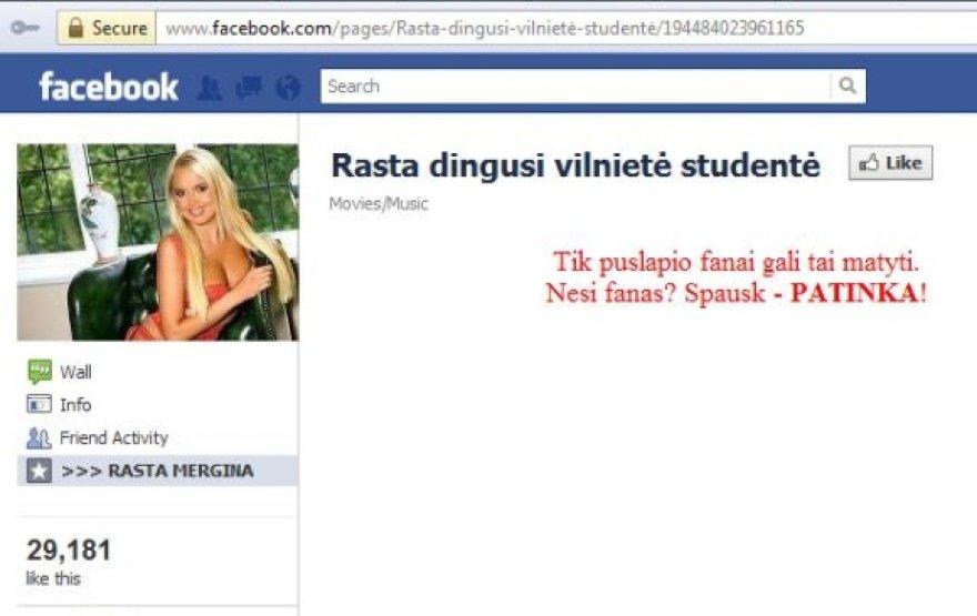 """""""Facebook"""" sukčiai fanų bandė pritraukti pasinaudodami spalio viduryje dingusios 28 metų studentės Kristinos Sabaliauskaitės istorija."""