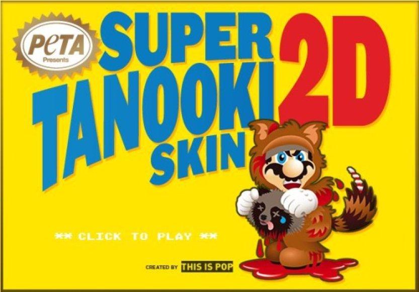 """PETA sukūrė savo žaidimo versiją """"Super Mario Tanooki Skin 2D"""", kuriame usūrinis šuo su nudirtu kailiu vejasi Mario, pakilusį į orą su kruvinu gyvūno kailiu."""