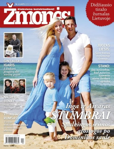 Inga Stumbrienė su vyru Aivaru ir vaikais