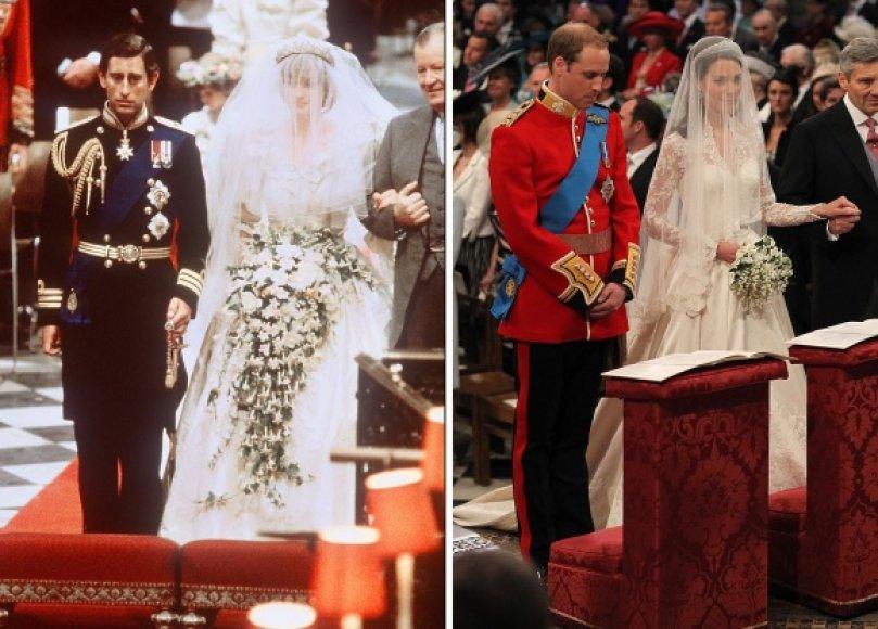 Prognozuojama, kad Kate Middleton vestuvinė suknelė, kaip princesės Dianos (nuotr. kairėje), į mados istoriją nepateks ir liks tik kaip karališkų vestuvių istorijos dalis.