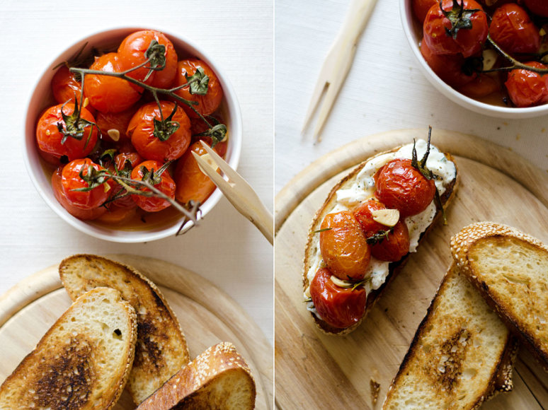 Strelkabelka nuotr./Skrebučiai su vyšniniais pomidorais ir naminiu sūriu