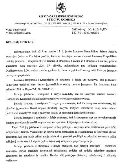Dokumento kopija/Seimo peticijų komisijos atsakymas