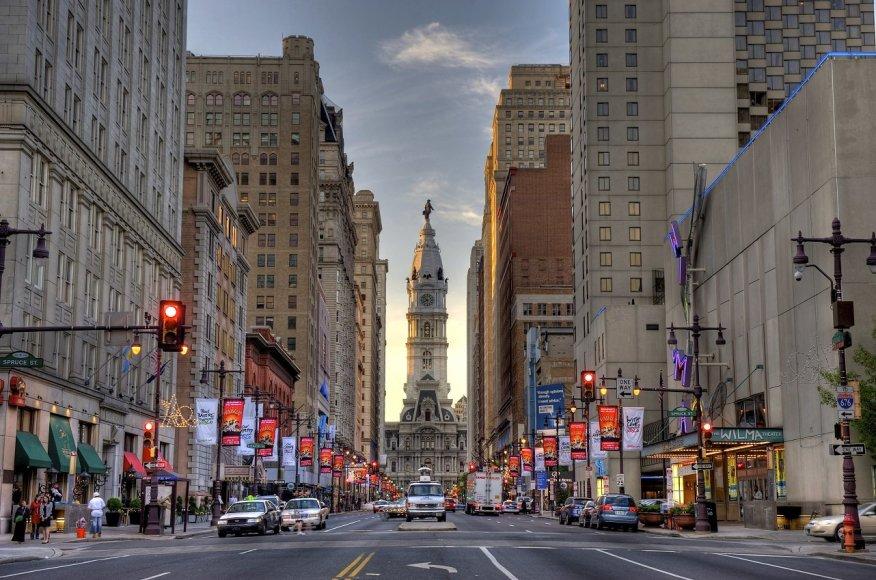 Vaido Mikaičio nuotr./Broad gatvės pabaigoje stovi Filadelfijos rotušė