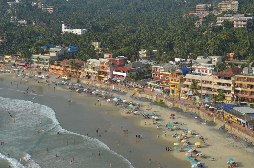 Karolio Barecko nuotr./Viešbučių pakrantė Keraloje, Indija