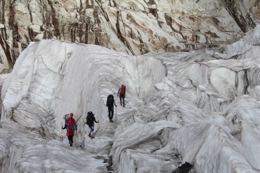Asmeninė nuotr./Šamoni, Alpės, Argentiere. Einame ledynu
