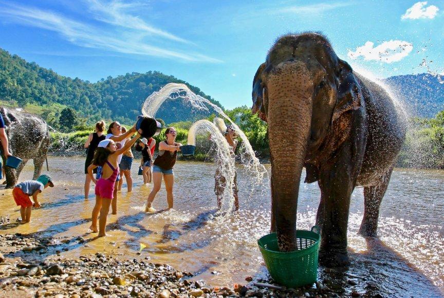 Asmeninė nuotr./Tailandas, dramblių maudynės – vaikus ypač žavinti pramoga