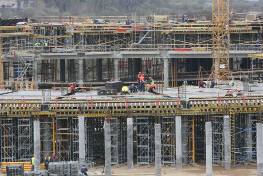 Arenos Nemuno saloje statybos.
