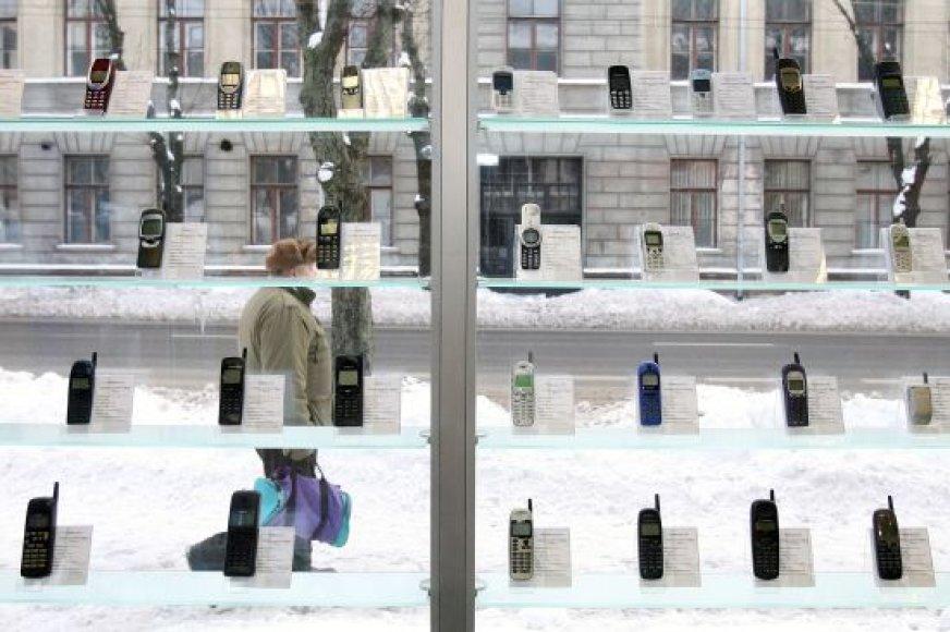 Kaune įrengtoje mobiliųjų telefonų ekspozicijoje yra įvairiais metais pradėtų gaminti telefonų modelių.