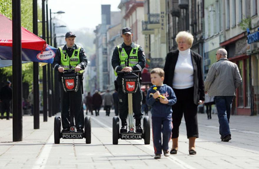 Riedžiais važiuoti pareigūnai patruliuos Laisvės alėjoje ir Senamiestyje