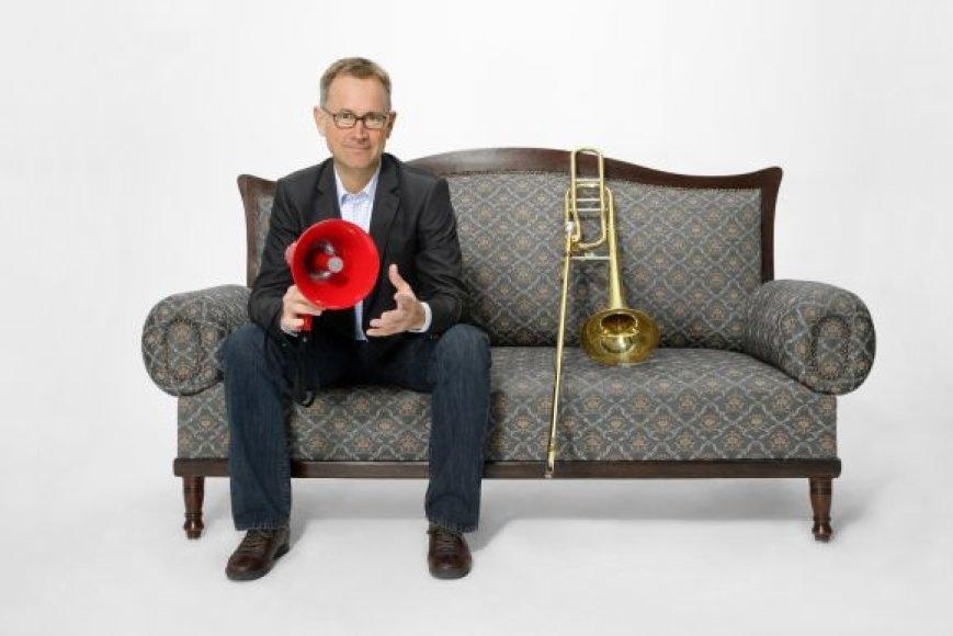 Vienas iš festivalio svečių – Vokietijoje gyvenantis trombonininkas M.Svobodas.