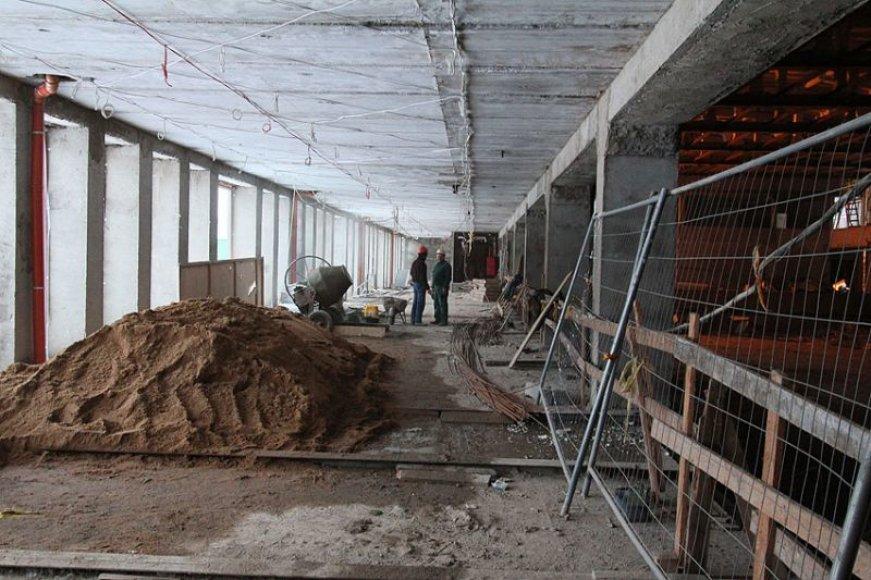 """Kultūros ir sporto rūmų """"Girstutis"""" rekonstrukcija artėja prie pabaigos."""