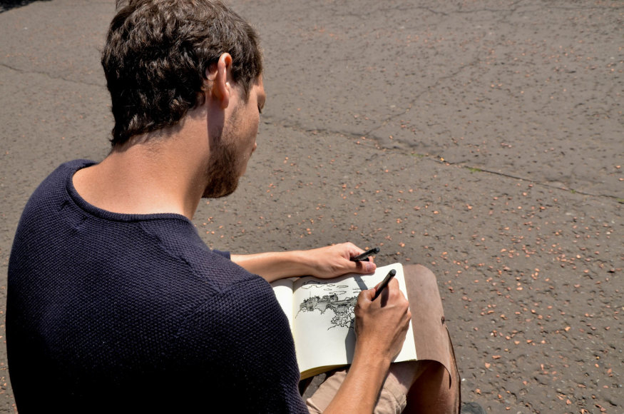 Beatričės Bankauskaitės nuotr./Talentingas menininkas, piešiantis Edinburge