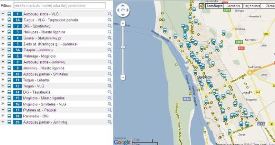 Kurioje vietoje važiuoja norimo maršruto autobusas, keleiviai gali pamatyti internete.