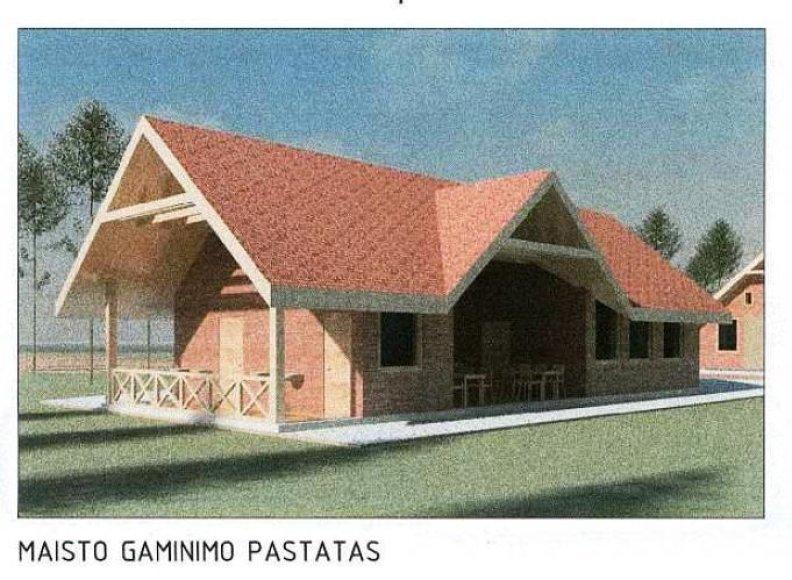 Būsimos stovyklavietės pastato vizualizacija.