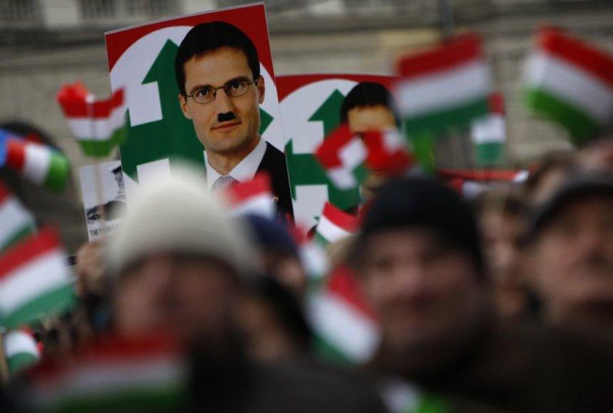 Protesto Vengrijoje akimirkos