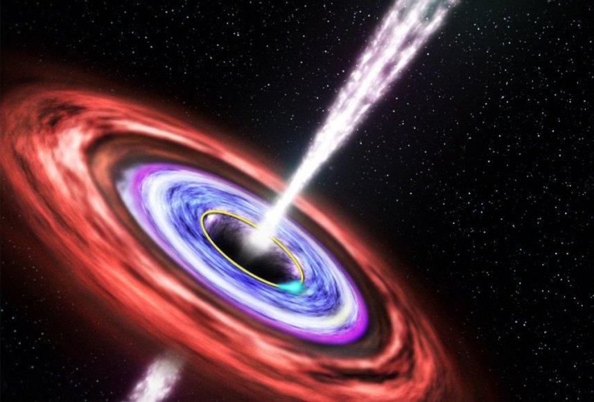 Menininko vizualizacija, kaip juodoji skylė įtraukia žvaigždę.