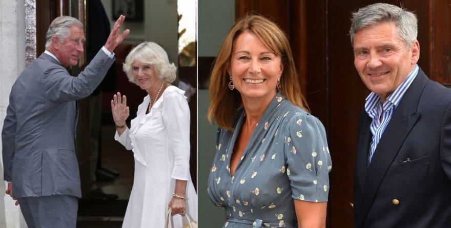 Princas Charlesas su žmona Camilla ir Michaelas Middletonas su žmona Carole