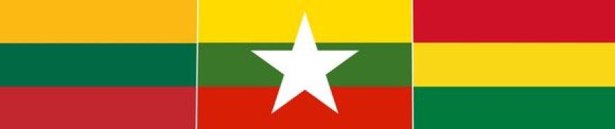 Lietuvos, Mianmaro ir Bolivijos vėliavos