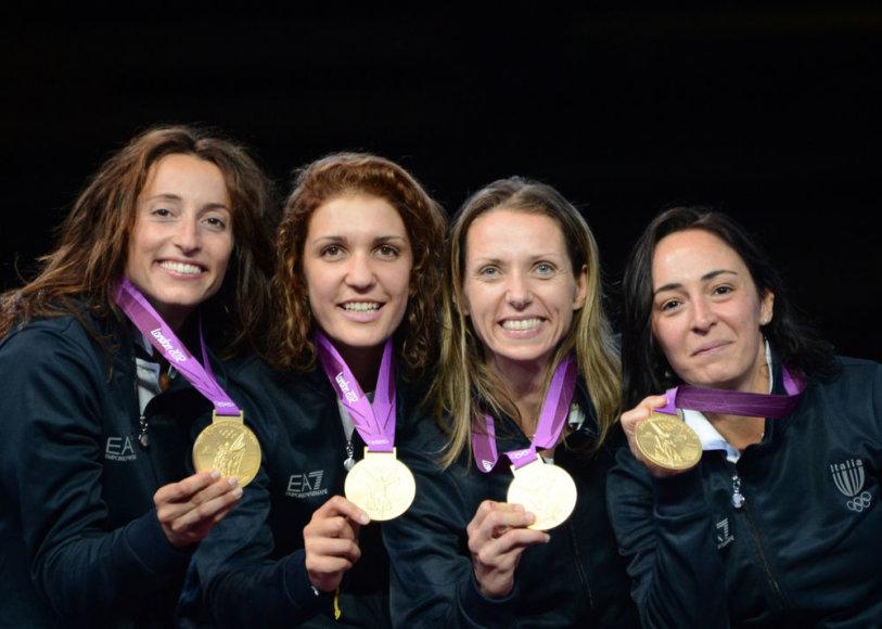 Olimpinės čempionės Elisa Di Francisca, Arianna Errigo, Valentina Vezzali ir Iliara Salvatori.