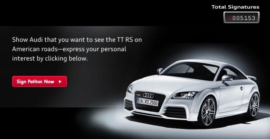 """""""Audi"""" renka parašus dėl """"TT RS"""" automobilio importo į JAV"""