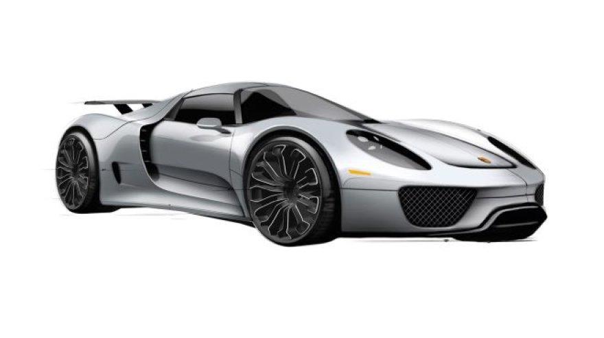 """""""Porsche 918 Hybrid"""" eskizai"""
