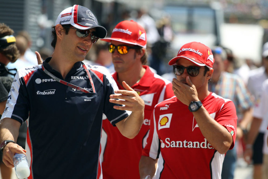 """Prieš """"Formulės-1"""" Vengrijos GP lenktynes. Bruno Senna ir Felipe Massa"""