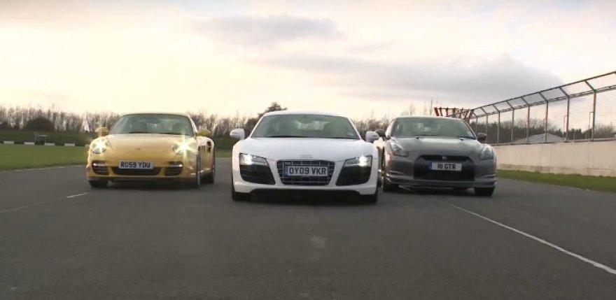 """Nissan GT-R"", ""Porsche 911 Turbo"" ir ""Audi R8 V10"" – kas geriau?"