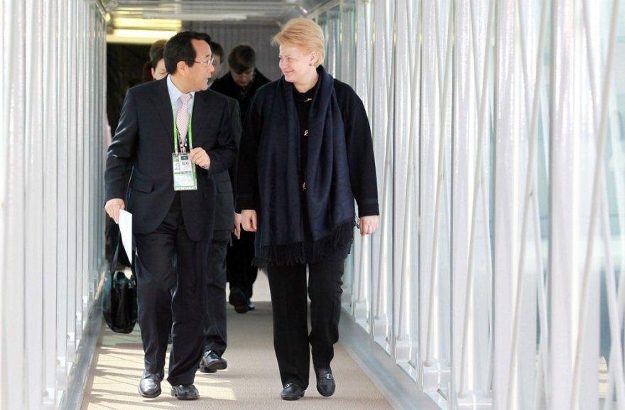 Lietuvos prezidentė Dalia Grybauskaitė atvyko į Seulą.