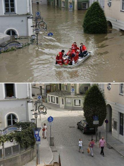 Passau miestas 2013 m. birželio 4 dieną (viršuje) ir 2013 m. birželio 22 dieną (apačioje)