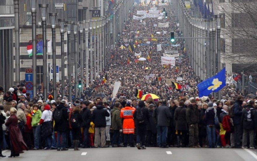 Minia žmonių Briuselyje