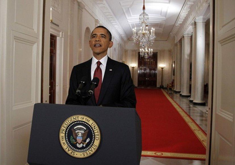 JAV prezidento Baracko Obamos pranešimas per televiziją apie nukautą Osamą bin Ladeną.