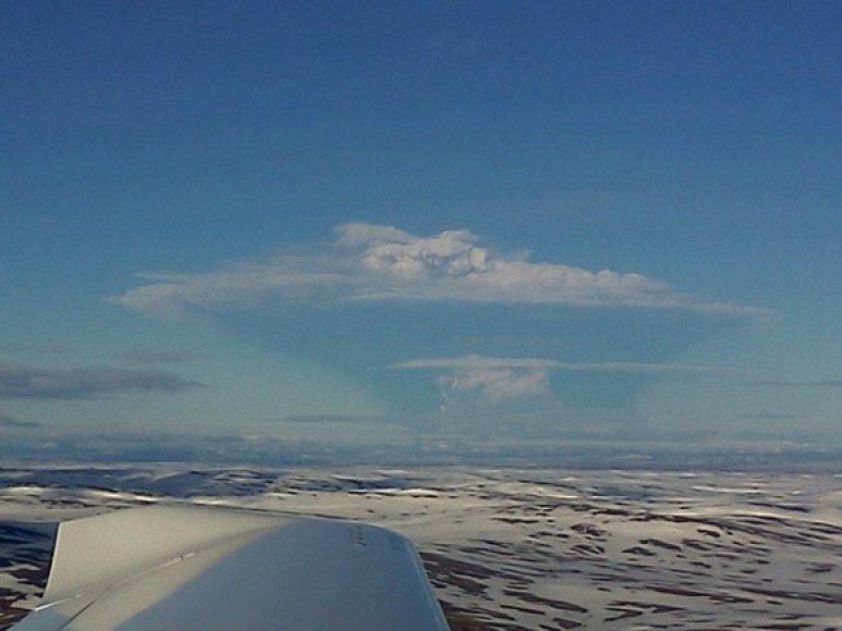 Grimsviotno ugnikalnis nufotografuotas iš lėktuvo