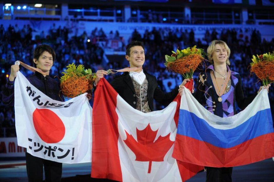 Vyrų varžybų pjedestalas: auksas atiteko Kanadai, sidabras Japonijai, o bronza Rusijai.