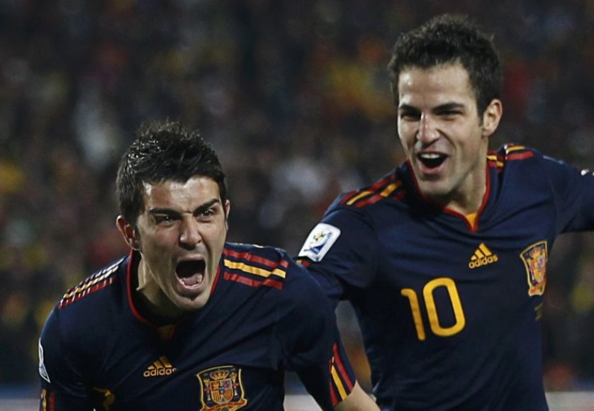Davidas Villa ir Cescas Fabregas Ispanijos rinktinėje