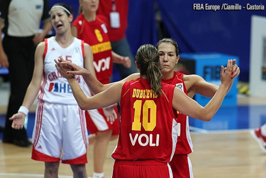 Rungtynių tarp Juodkalnijos ir Kroatijos rinktinių akimirka