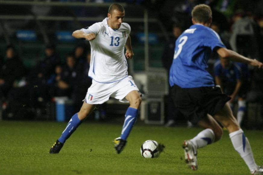 Estijos ir Italijos futbolo rinktinių susitikimo akimirka.