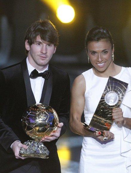 Lionelis Messi ir Marta – geriausi 2010 metų pasaulio futbolininkai