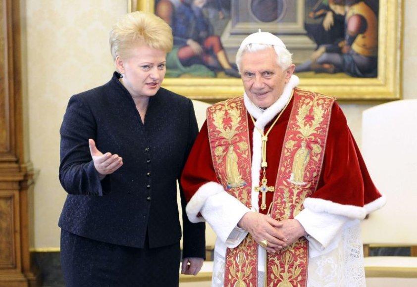 Dalia Grybauskaite ir popiežius Benediktas XVI