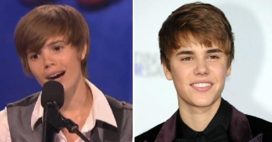 Kairėje – Justino Bieberio antrininkė mergina, dešinėje – Justinas Bieberis