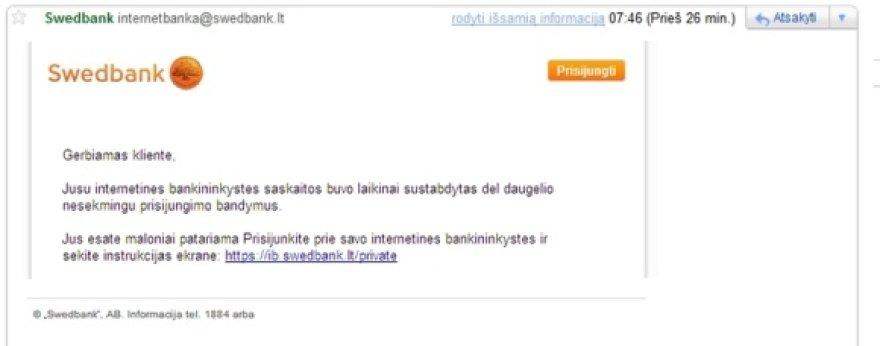 """m4ginta apgauti """"Swedbank"""" klientus"""