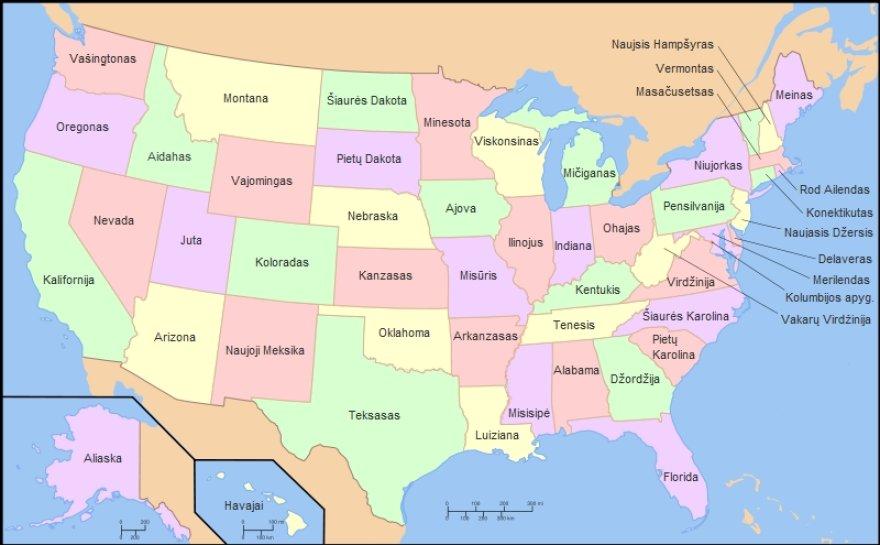 JAV žemėlapis