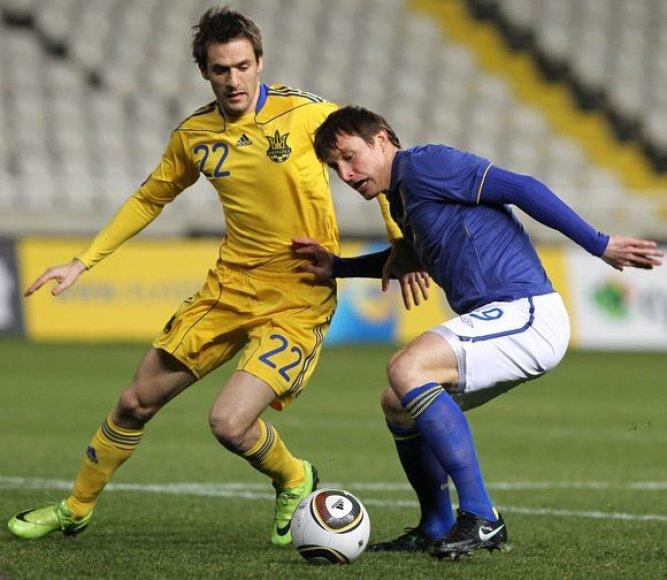 Ukrainos ir Švedijos rungtynių akimirka