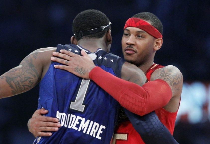 """Savaitgalį vykusiose NBA """"Visų Žvaigždžių"""" rungtynėse Carmelo Anthony ir Amare'as Stoudemire'as atstovavo skirtingoms pusėms, dabar šie krepšininkai kartu gins """"Knicks"""" ekipos garbę"""