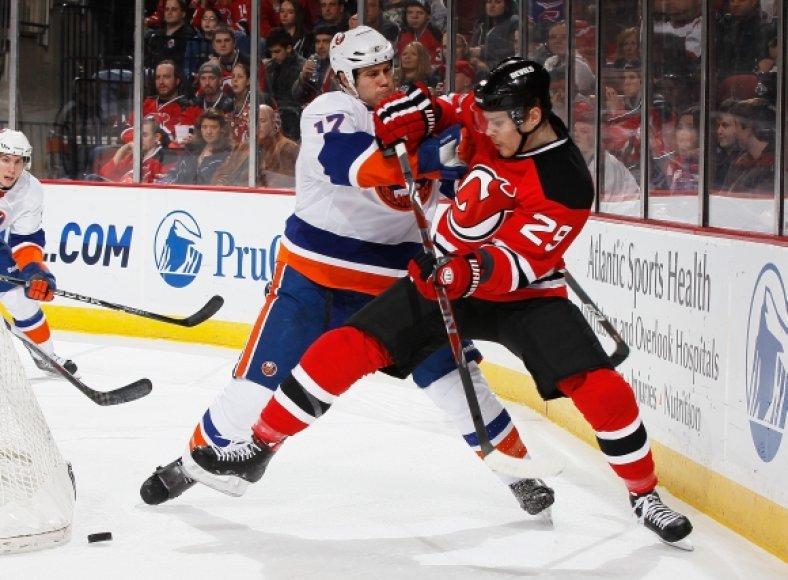 """Devils"" – ""Islanders"" rungtynių akimirka"