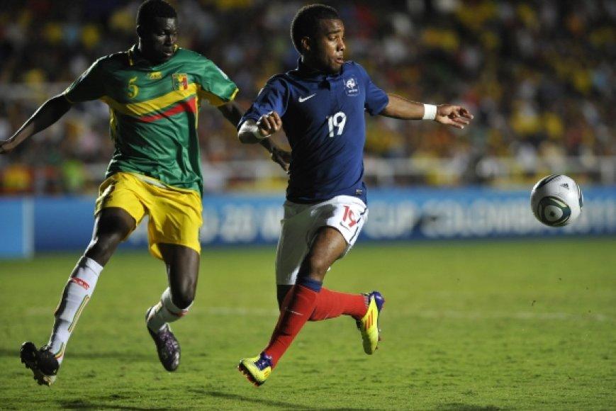 Prancūzijos ir Malio rungtynių akimirka