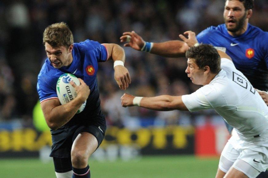 Prancūzijos ir Anglijos rungtynių akimirka