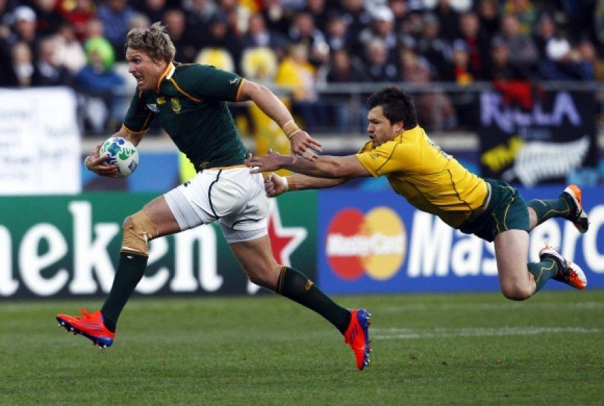 Pietų Afrikos ir Australijos rungtynių akimirka