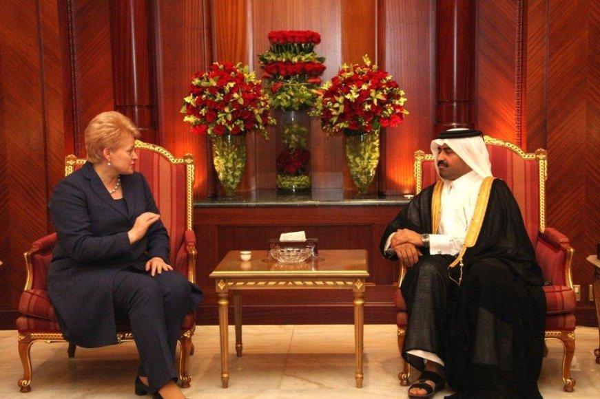 Dalia Grybauskaitė aptarė dujų tiekimo į Lietuvą galimybes Kataro energetikos ir pramonės ministru Mohammedu Bin Saleh Al Sada.