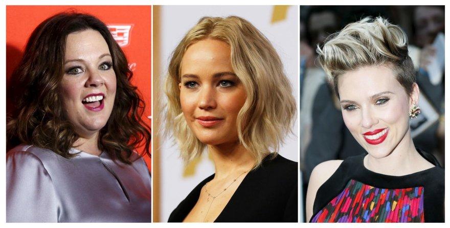 """""""Reuters""""/""""Scanpix"""" nuotr./Daugiausiai uždirbančių aktorių trejetukas: Melissa McCarthy, Jennifer Lawrence ir Scarlett Johansson"""